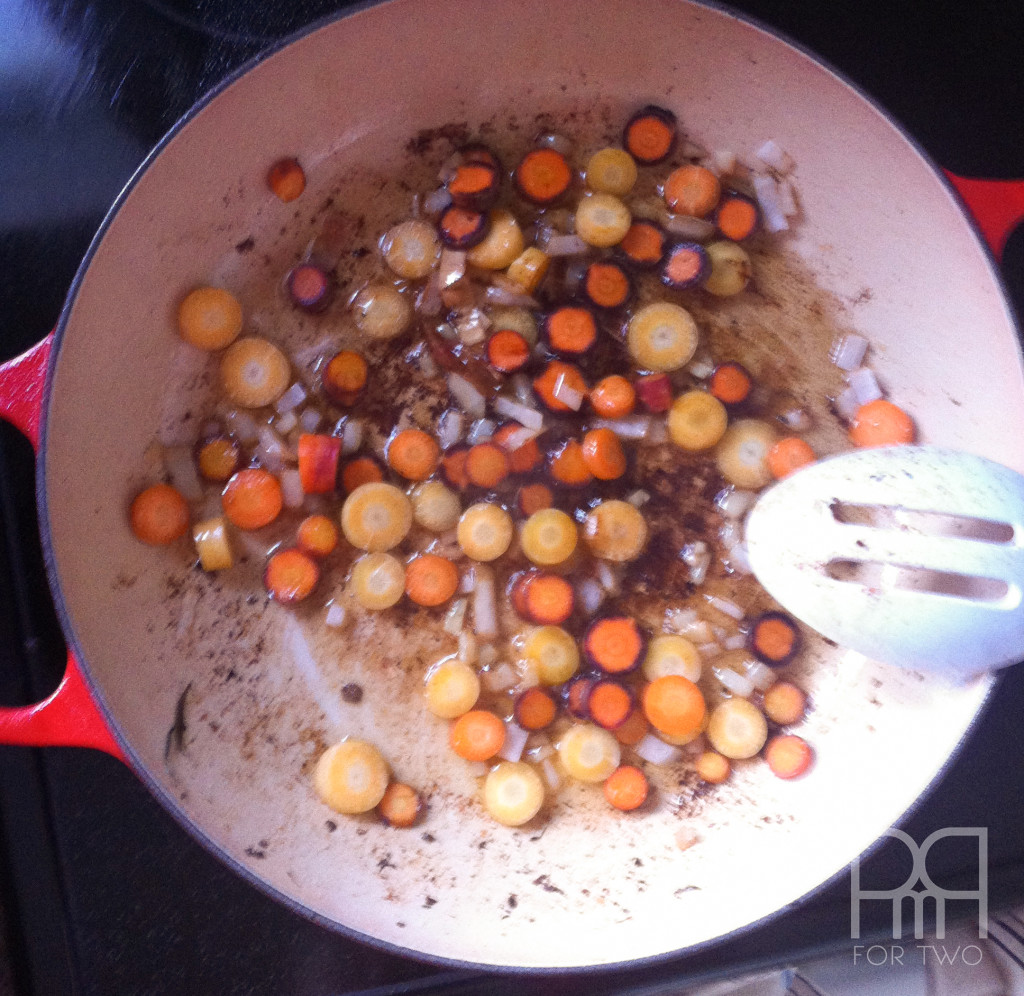 vegetables cooking for beef provencale stew