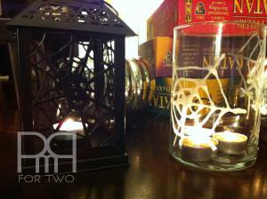 DIY glue on vase candle lantern