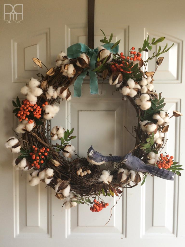 cotton bud fall wreath