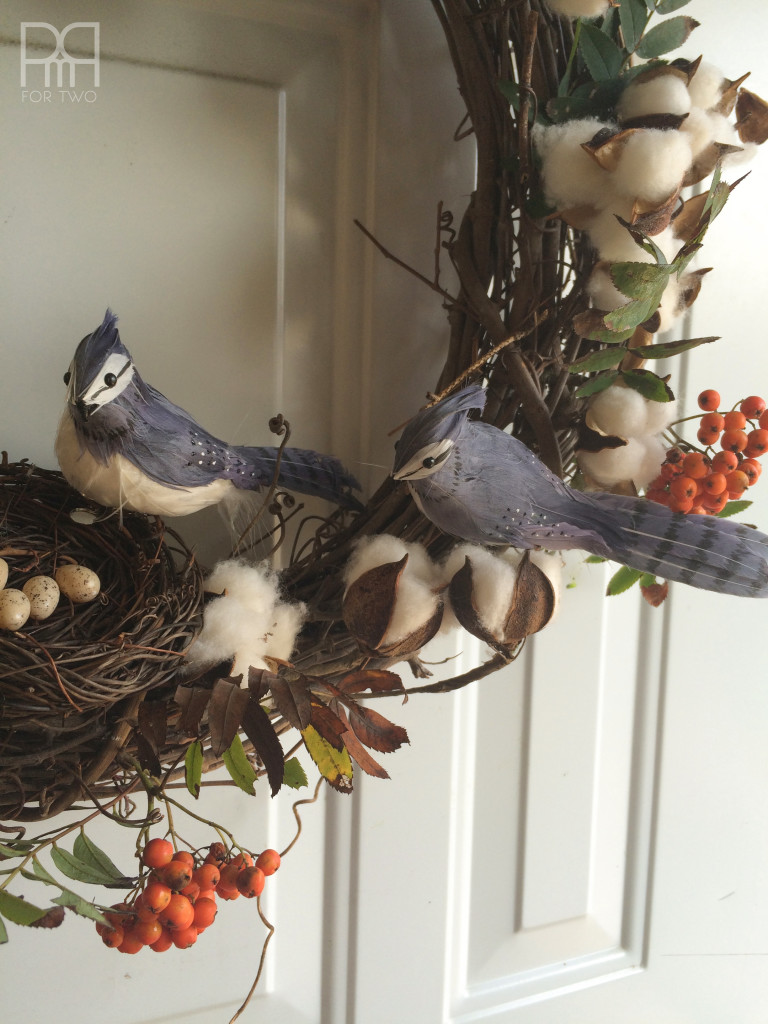cotton bud fall wreath with birds