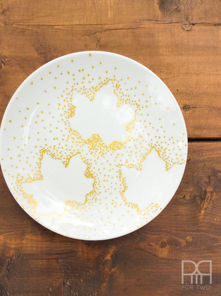 fall plates diy gold leaves