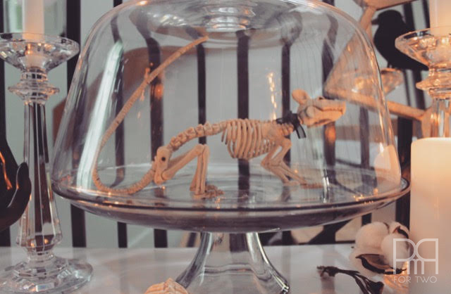 halloween entryway decor in glass dome
