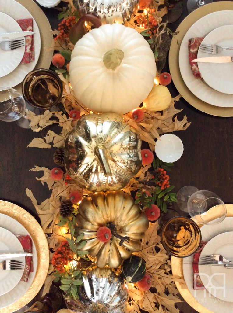 thanksgiving table decor overhead shot
