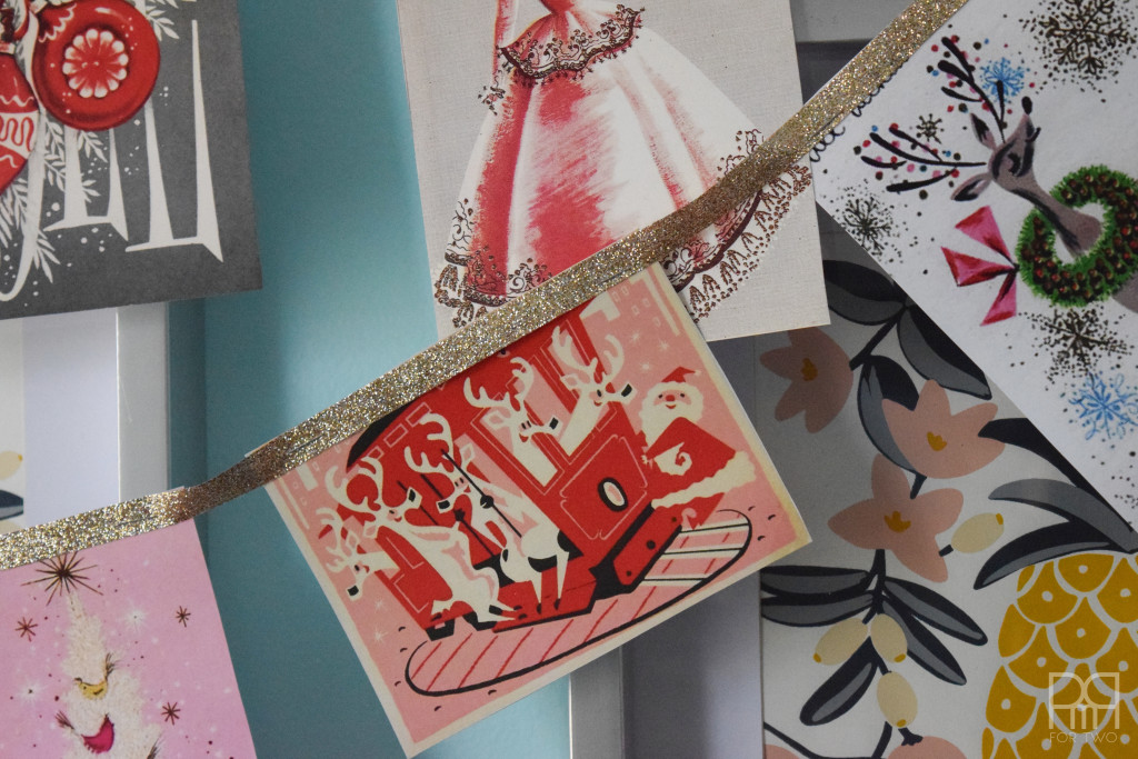 Vintage christmas card garland pmq for two