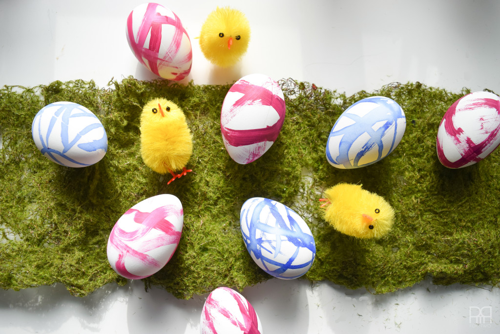 painted eggs with chicks