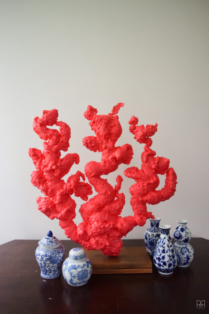 blue vases with DIY Coral