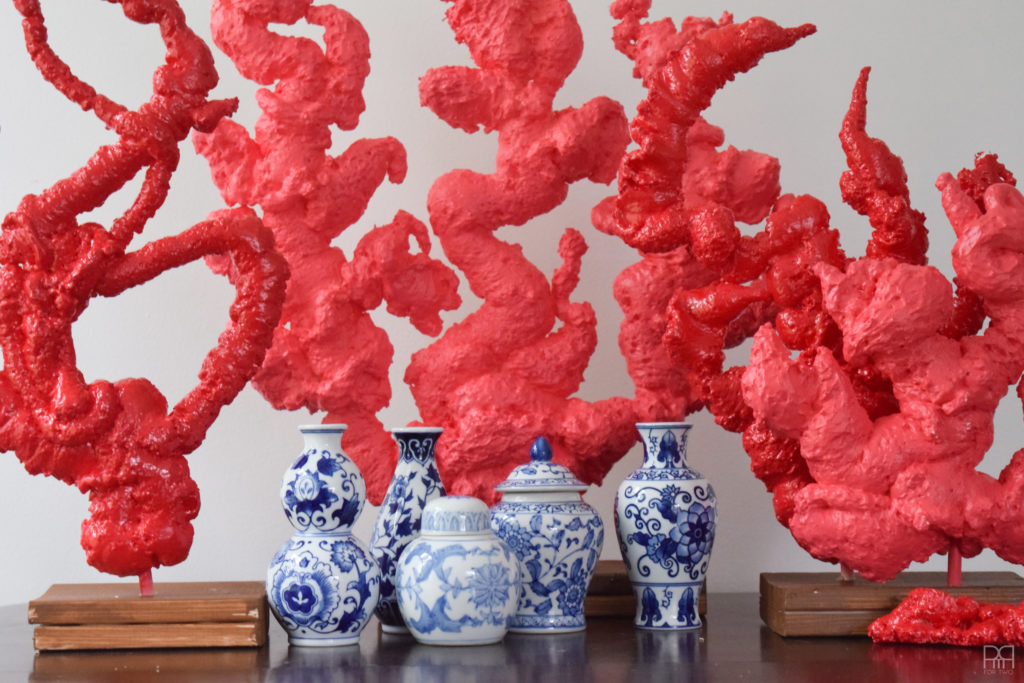 DIY Coral with blue vases