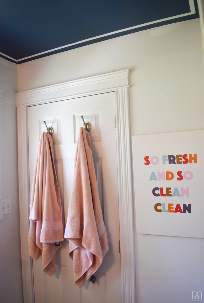DIY Bathroom Sign hanging towels and sign