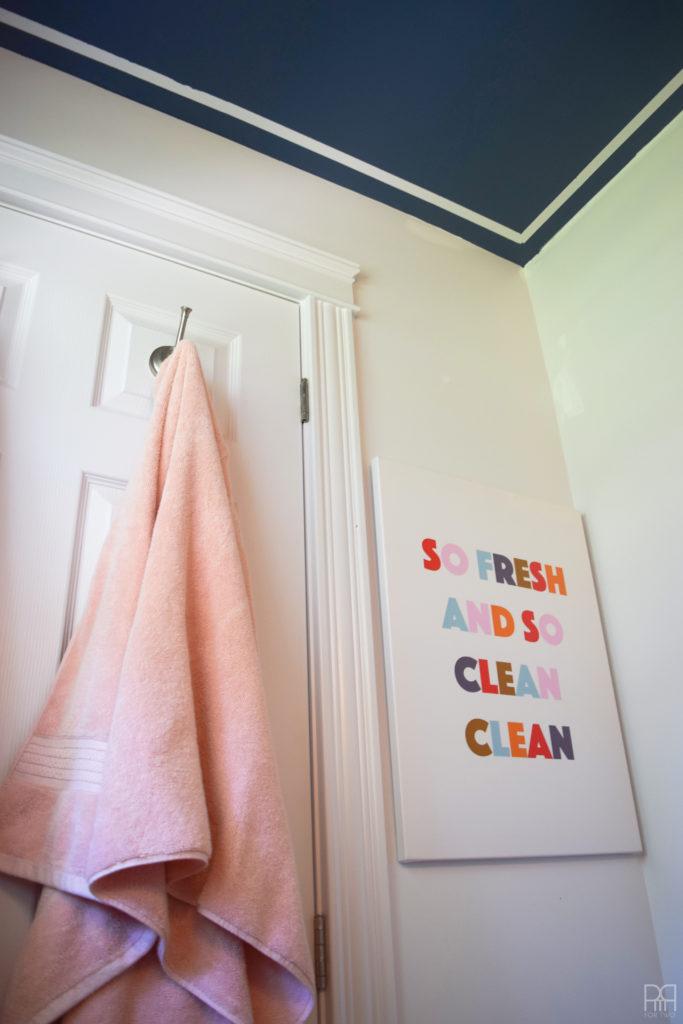 DIY Bathroom Sign hanging