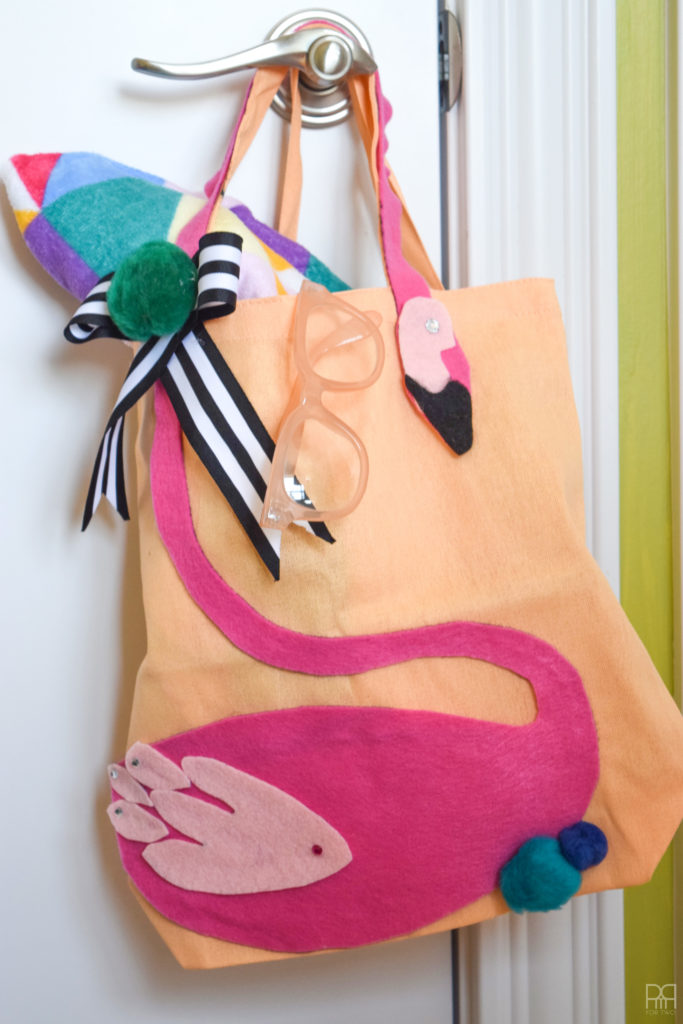 Felt Flamingo tote Bag