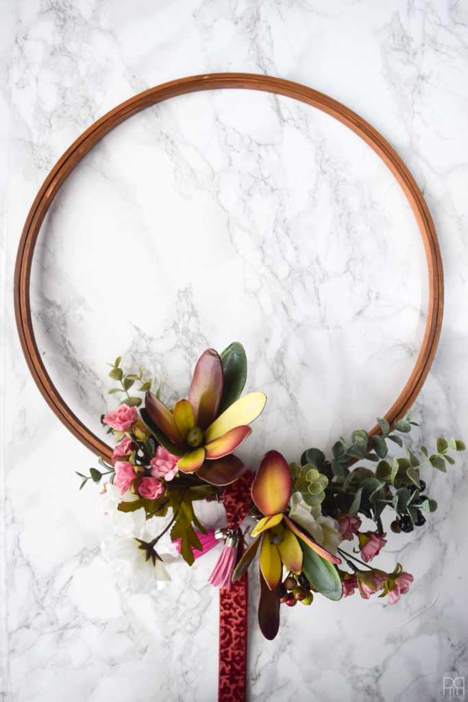 Modern & Moody fall wreath with ribbon and tassel