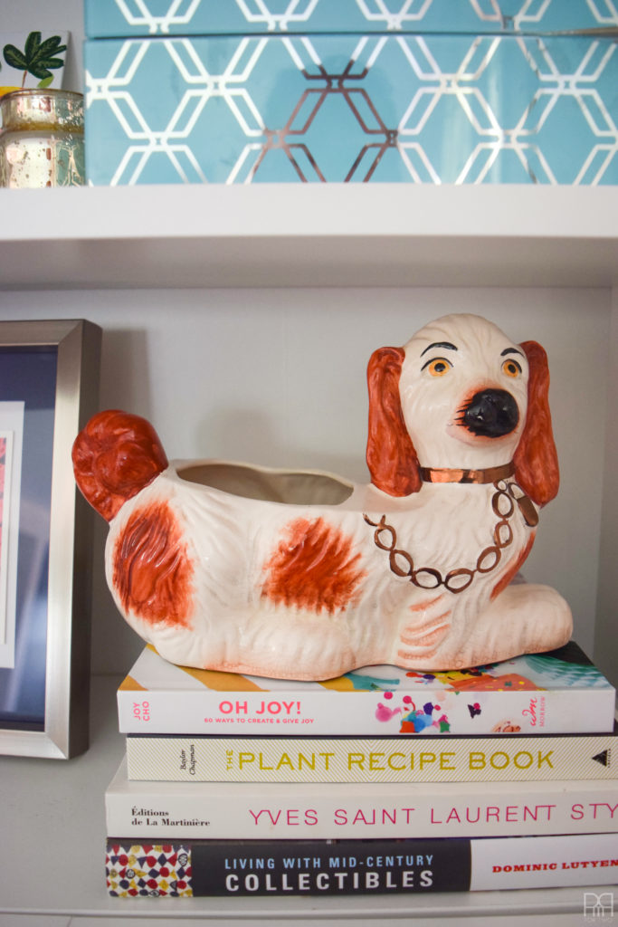 The Family Room dog on shelf
