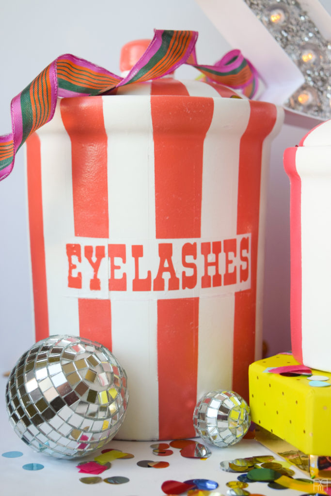 close-up of eyelashes vice jar