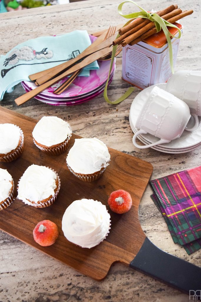 canadian-blogger-fall-home-tour cupcake on wood board