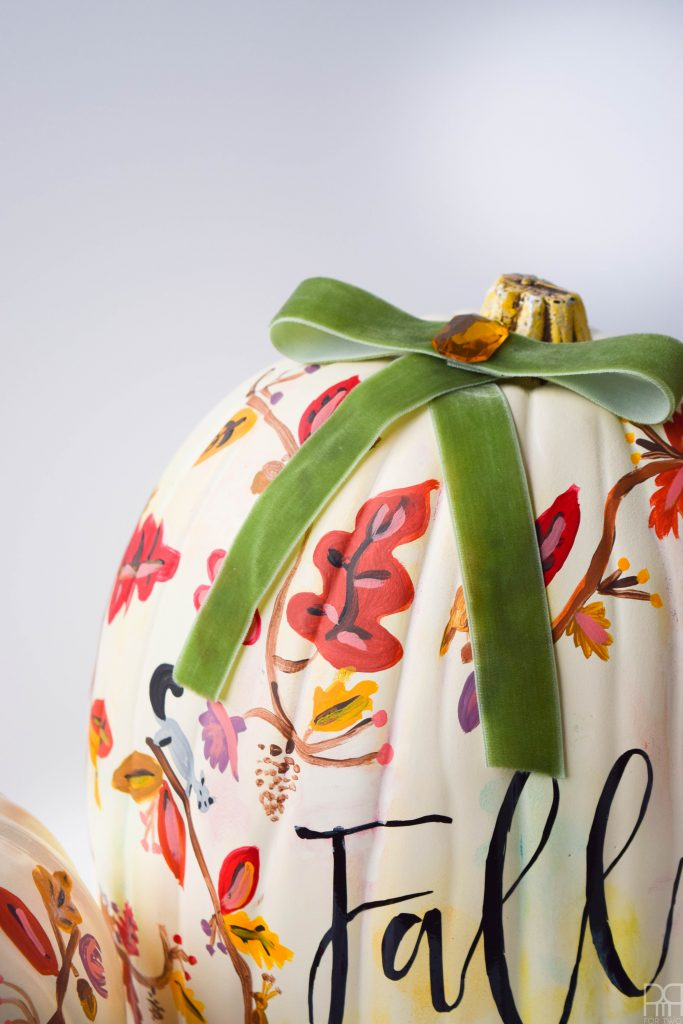 close-up of rifle paper co inspired pumpkin