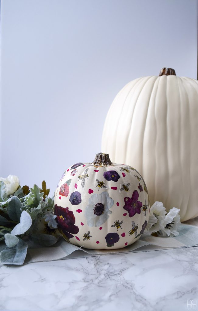 Decoupage Pumpkin with white pumpkin