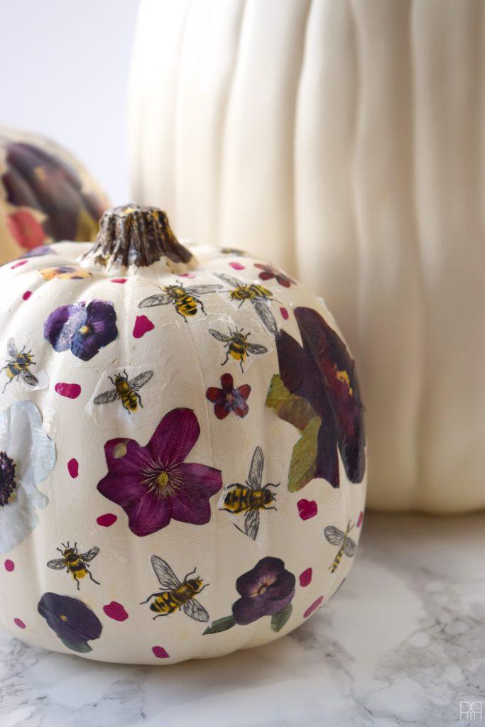 Decoupage Pumpkin with flowers