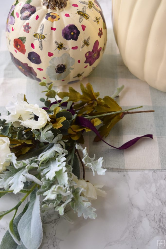 Decoupage Pumpkins with flowers