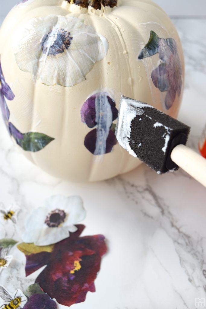 Decoupage Pumpkins mod podged with flowers