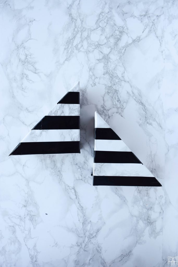 Faux-Marble Bookends with black stripes