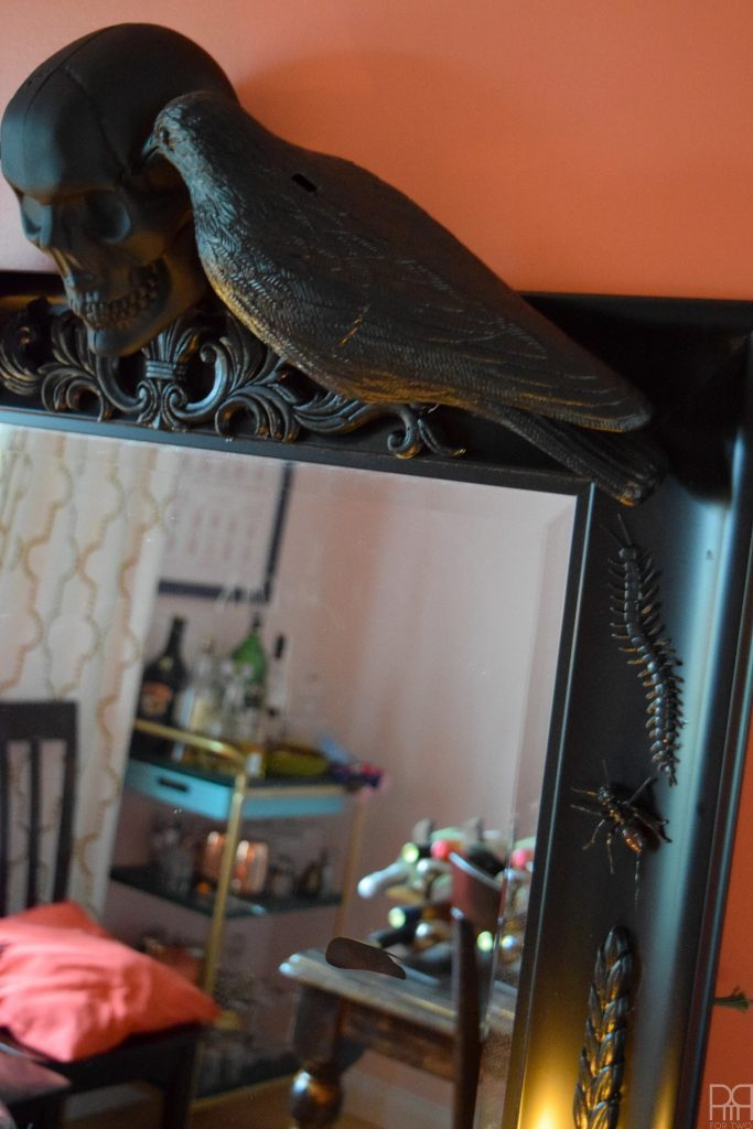 DIY Halloween Mirror with raven