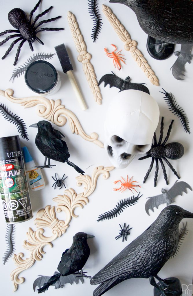 Create a show-stopping piece of Halloween Decor  using items from the dollar store and an existing mirror.