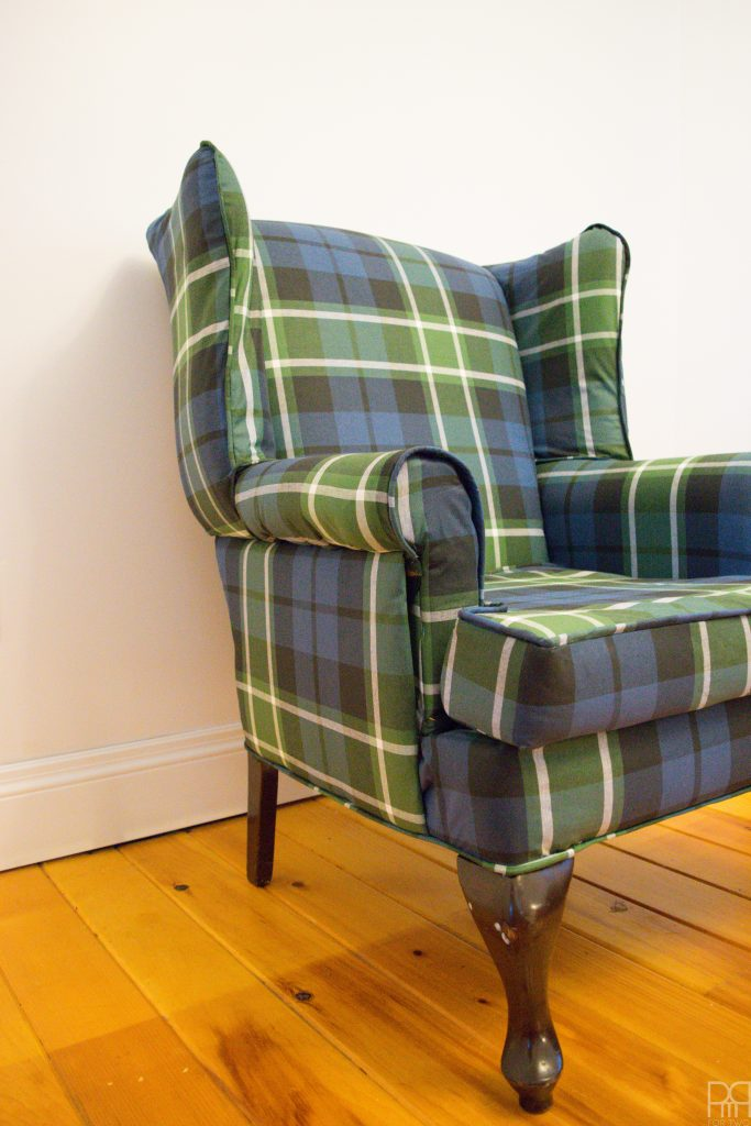 one-room-challenge-week-3 green plaid chair