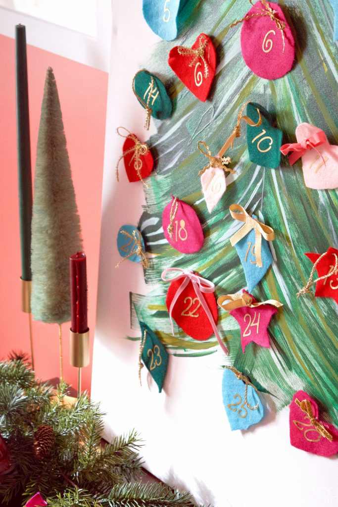 Create a magnetic and fabric advent calendar for the holidays using your Cricut!
