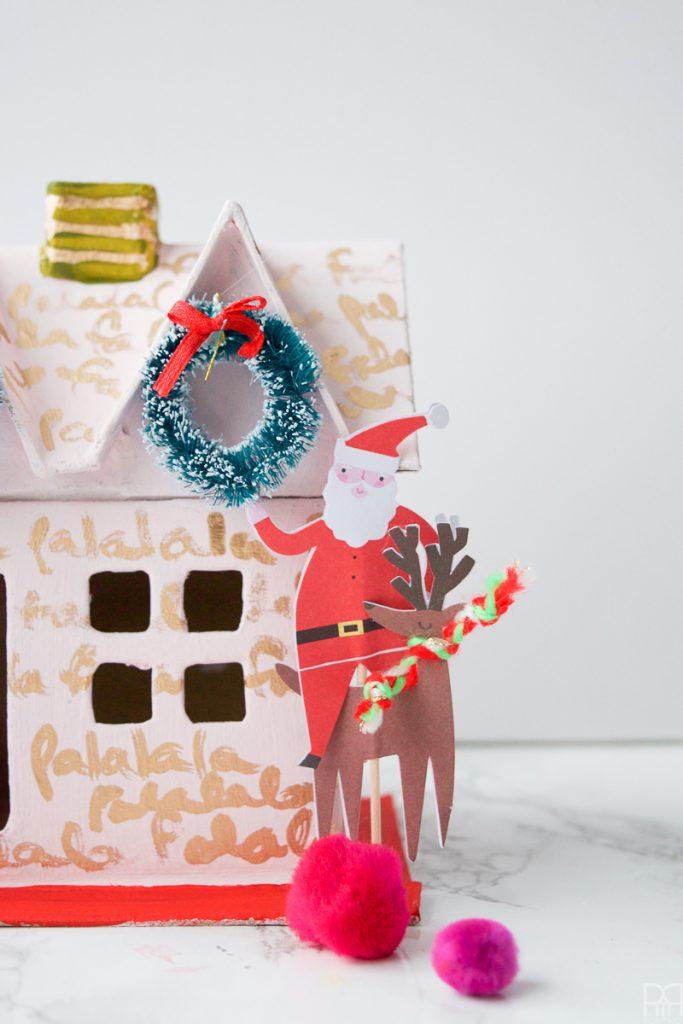 Colourful Christmas Putz Houses with santa