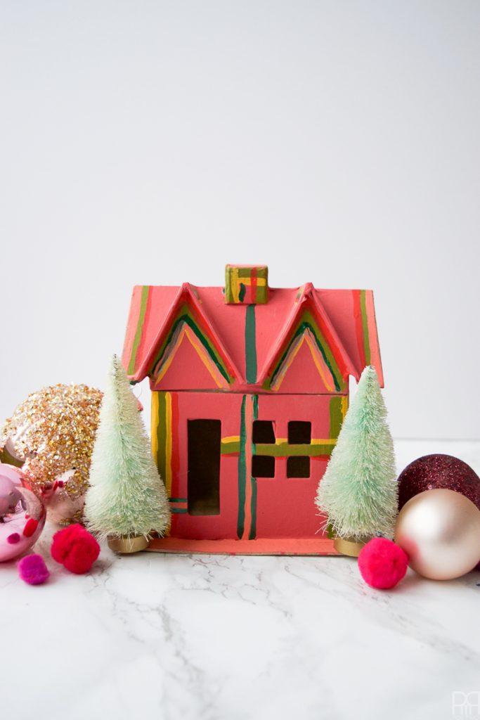 Colourful Christmas Putz Houses