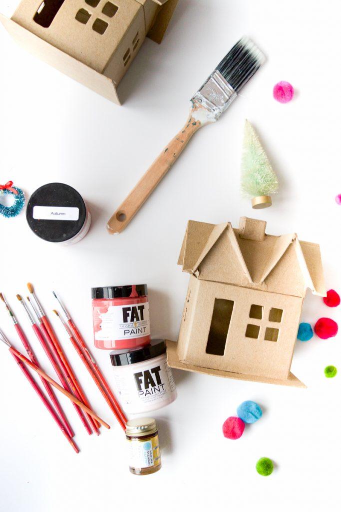 Colourful Christmas Putz Houses supplies
