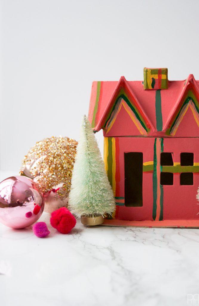 Colourful Christmas Putz Houses striped house