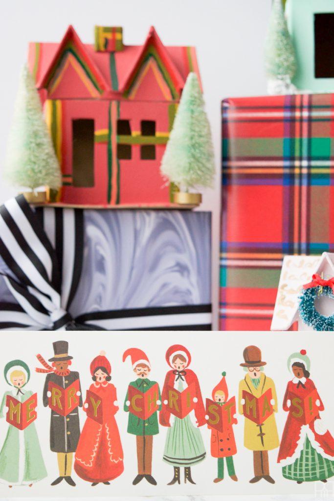 Colourful Christmas Putz Houses christmas card image