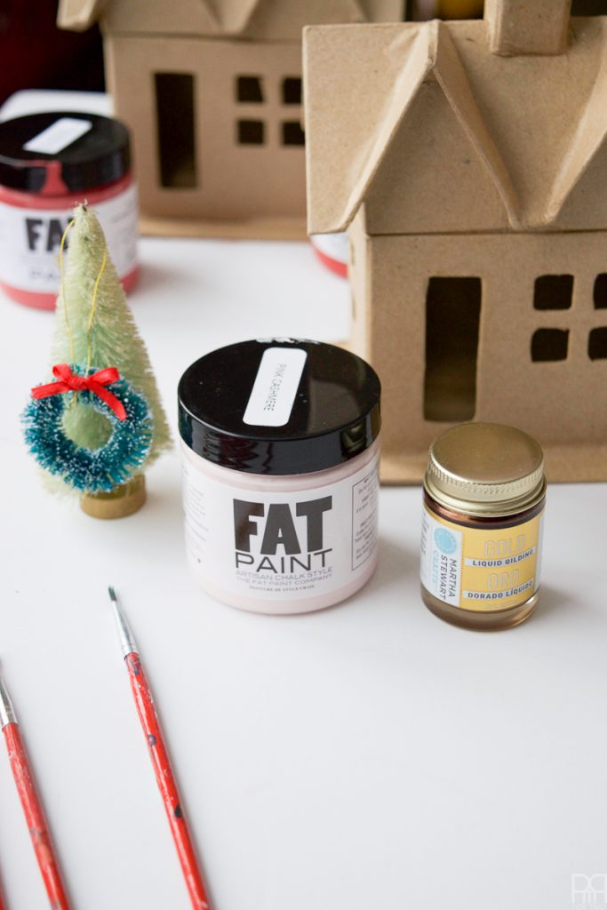 Colourful Christmas Putz Houses with fat paint