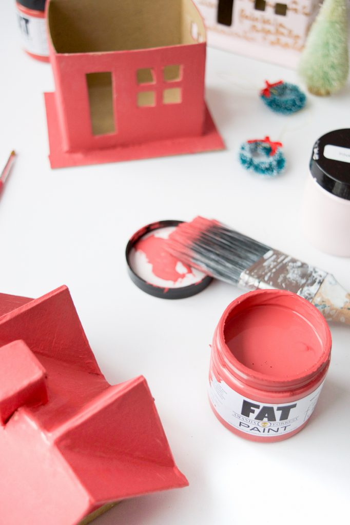 Colourful Christmas Putz Houses pink fat paint