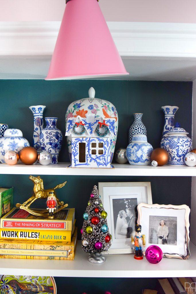 Colourful Christmas Putz Houses ginger jars