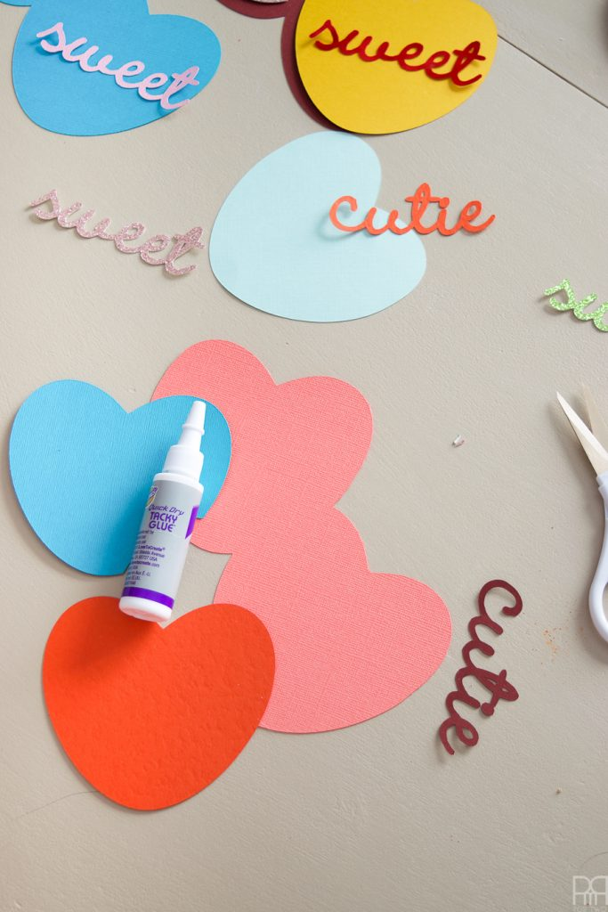 I made myself some super sweet and super cute DIY candy heart valentine's day cards this year using my Cricut and some bold colours.