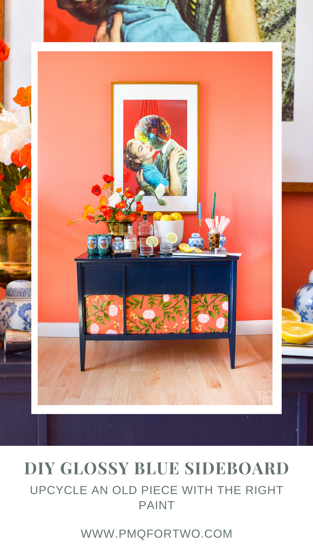 Inspired by Miles Redd's iconic style, my glossy blue sideboard makeover with FAT Paint is colourful, funky, and always eclectic.