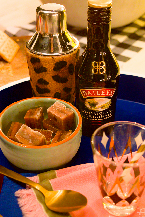 layered coffee & chocolate icecubes with Bailey's Irish Creme