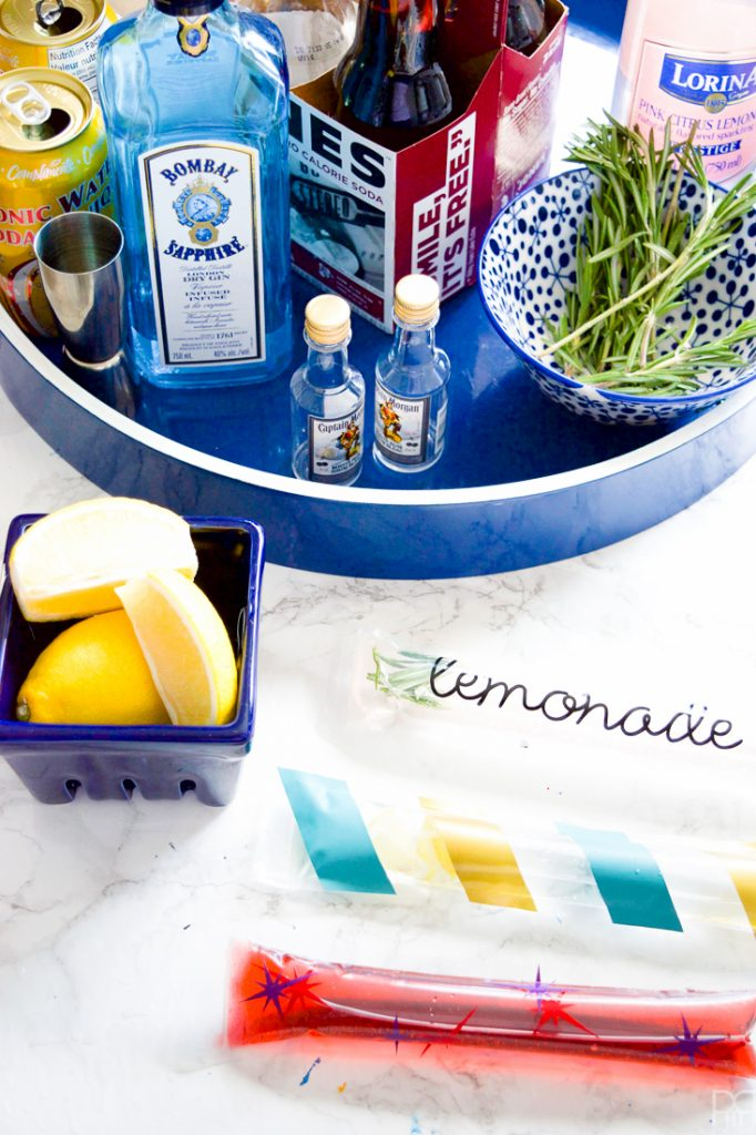 Making happy hour that much more special, with your own customizable boozy popsicles. I made G&T, Black Cherry & Rum, & Rosemary Pink Lemonade versions.