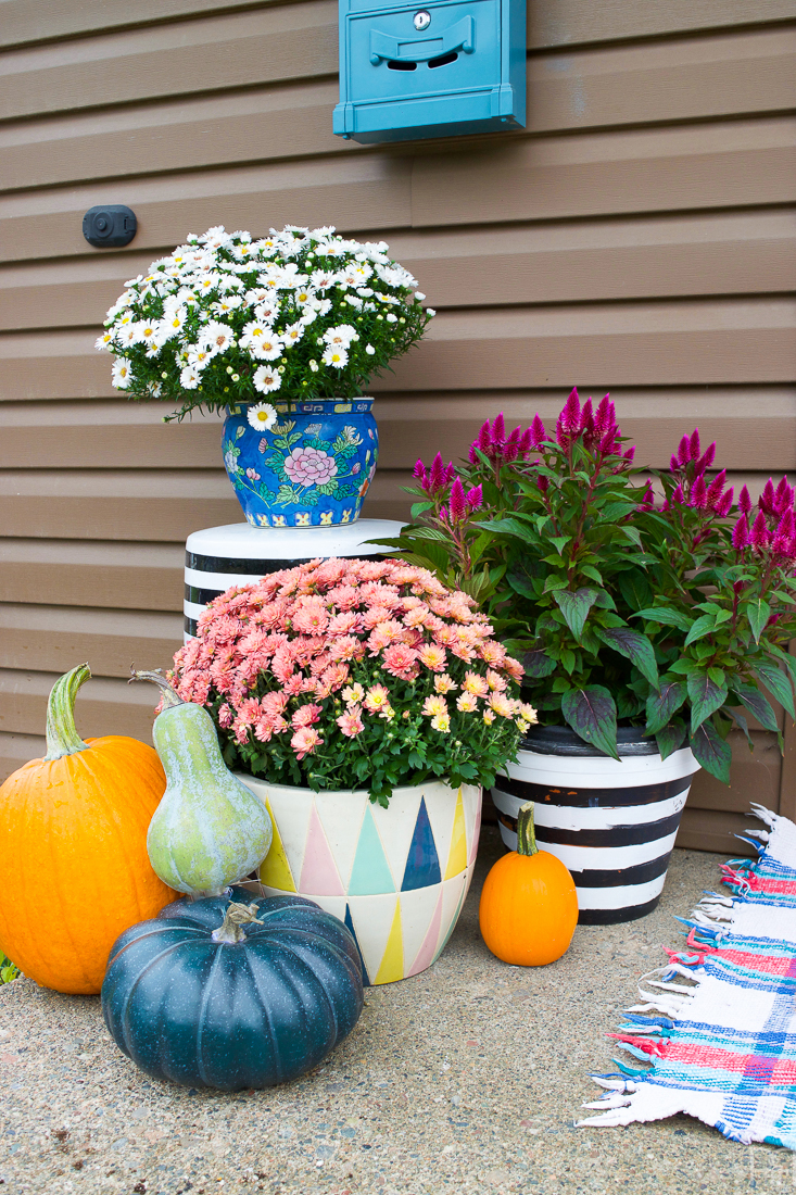 Colourful Floral Fall Porch with mums