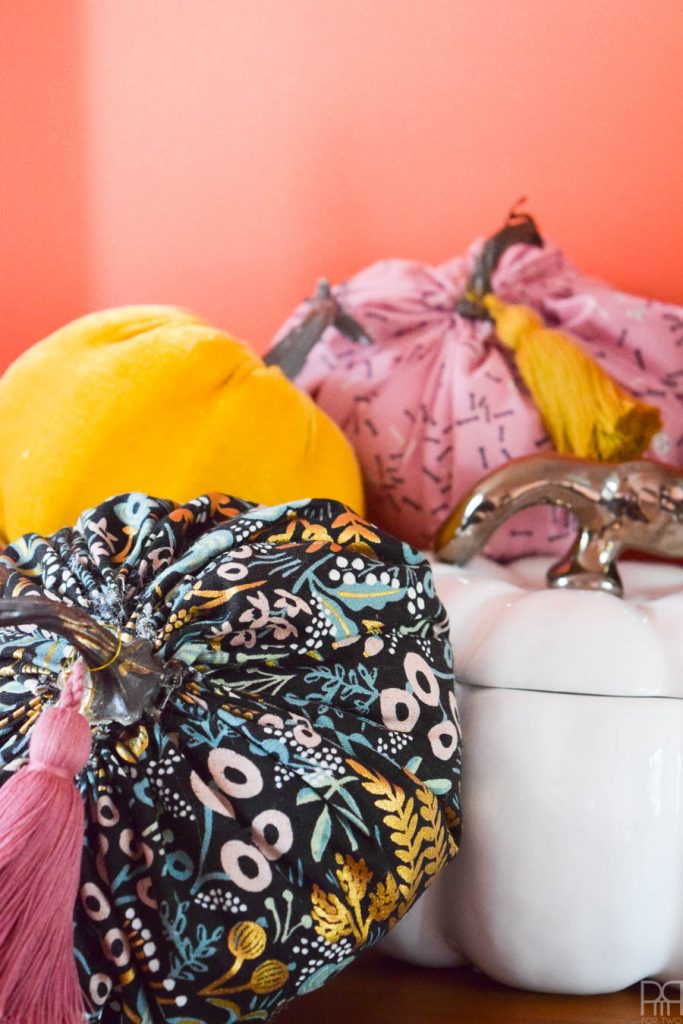 rifle paper co pattern fabric as a diy fabric pumpkin