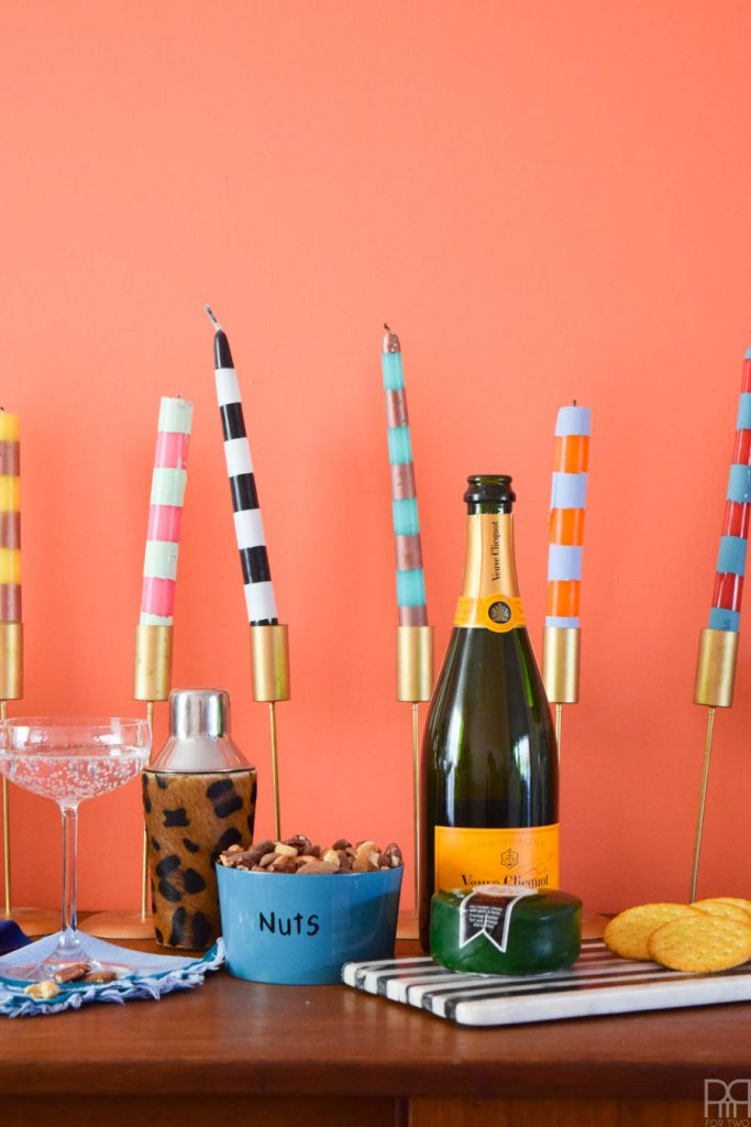 Spray Painted Striped Candles