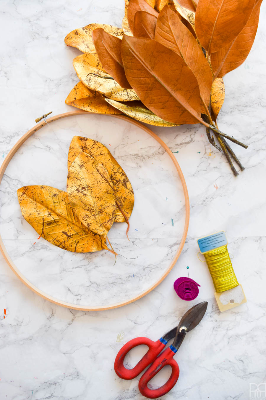 Gold Leaf Magnolia Wreath