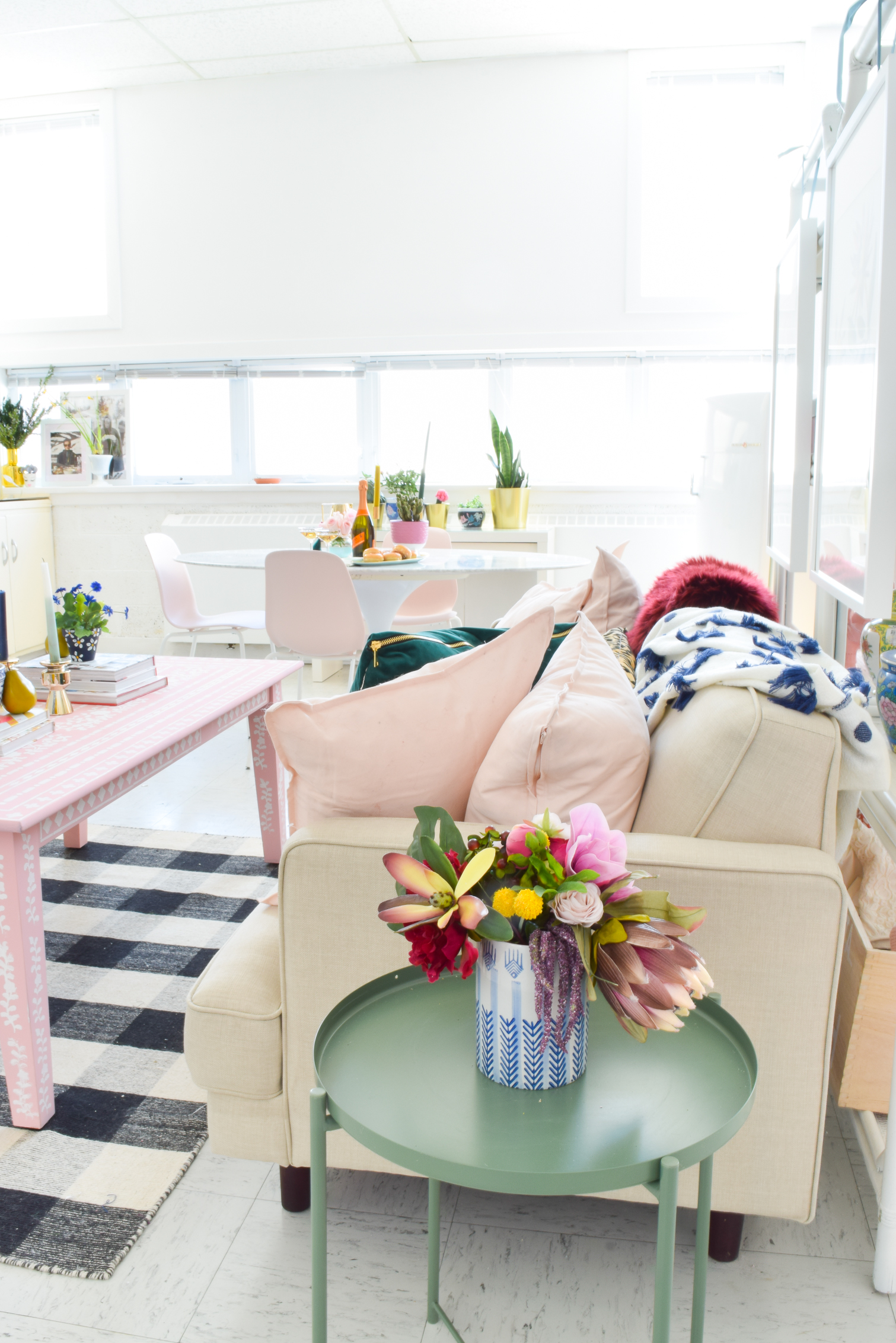 Come tour Blush & Brass Studios, and see what all the fuss is about. Furnished with tons of DIY and Homesense finds, you'll never see a shared work space that looks this good ever again.