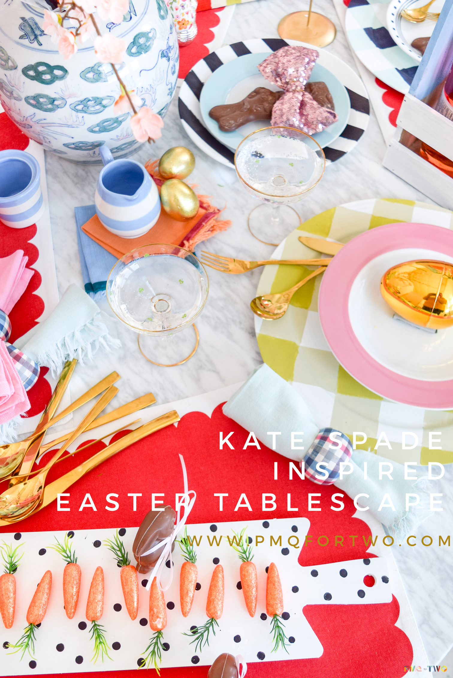 Create a bold scene this easter with a Kate Spade Inspired Easter Tablescape. Colour, pattern, & painted DIYs make this tablescape perfect for spring.