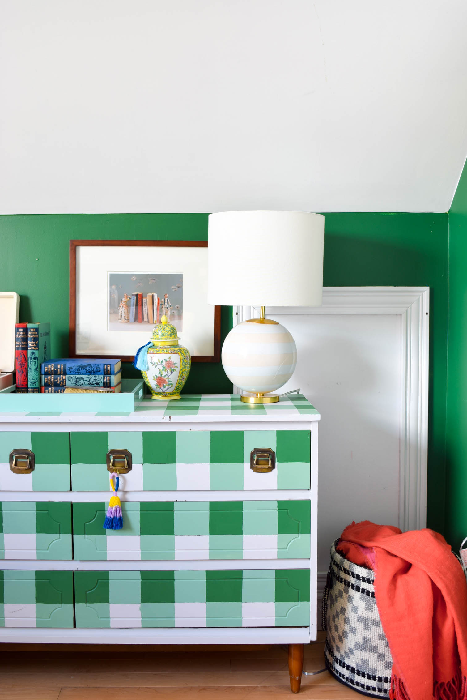 A Colourful & Eclectic Guest Room (& office) that looks like it came straight from a magazine! Full of charm and curated finds. Come see how we make an MCM daybed work with a buffalo plaid dresser and lots of saturated hues.