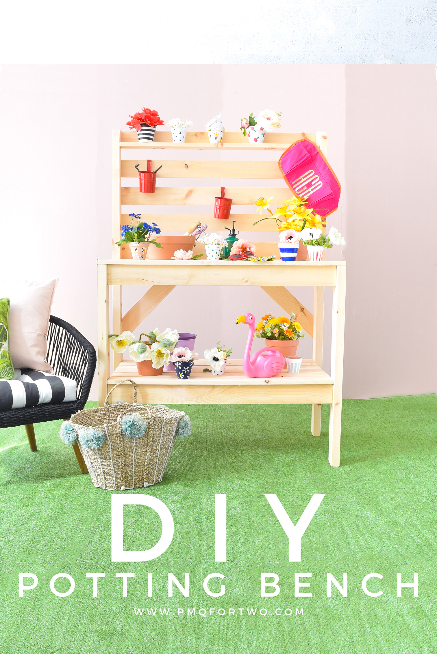 Get your build on with a DIY Potting Bench - perfect for spring and summer's blooming florals! PLUS, you can make it for under $200 and under 2hrs.