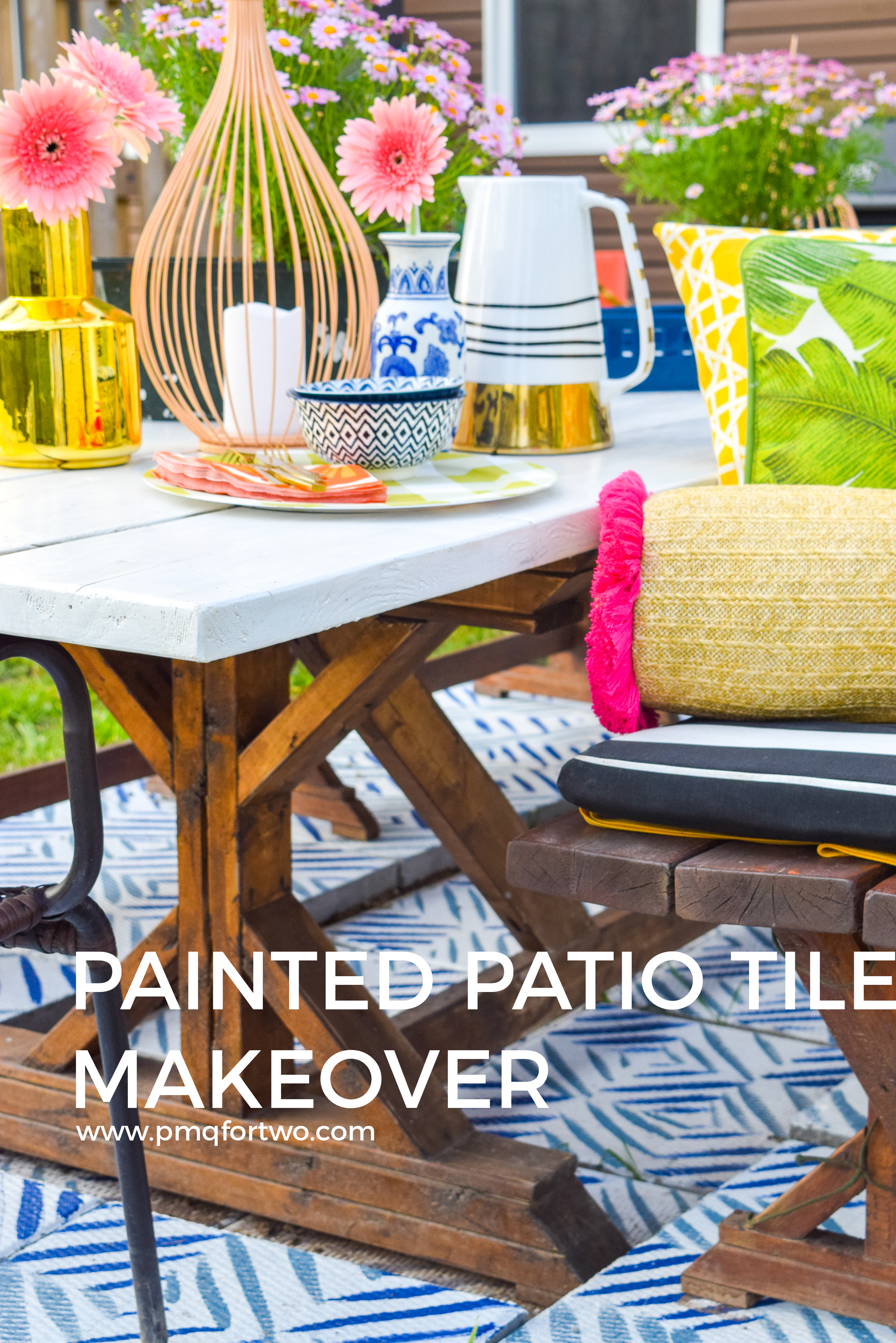 Looking for a renter friendly update to your backyard in time for summer? Try painted some cement pavers to look like patio tiles, using Decoart's Curb Appeal line of paints.