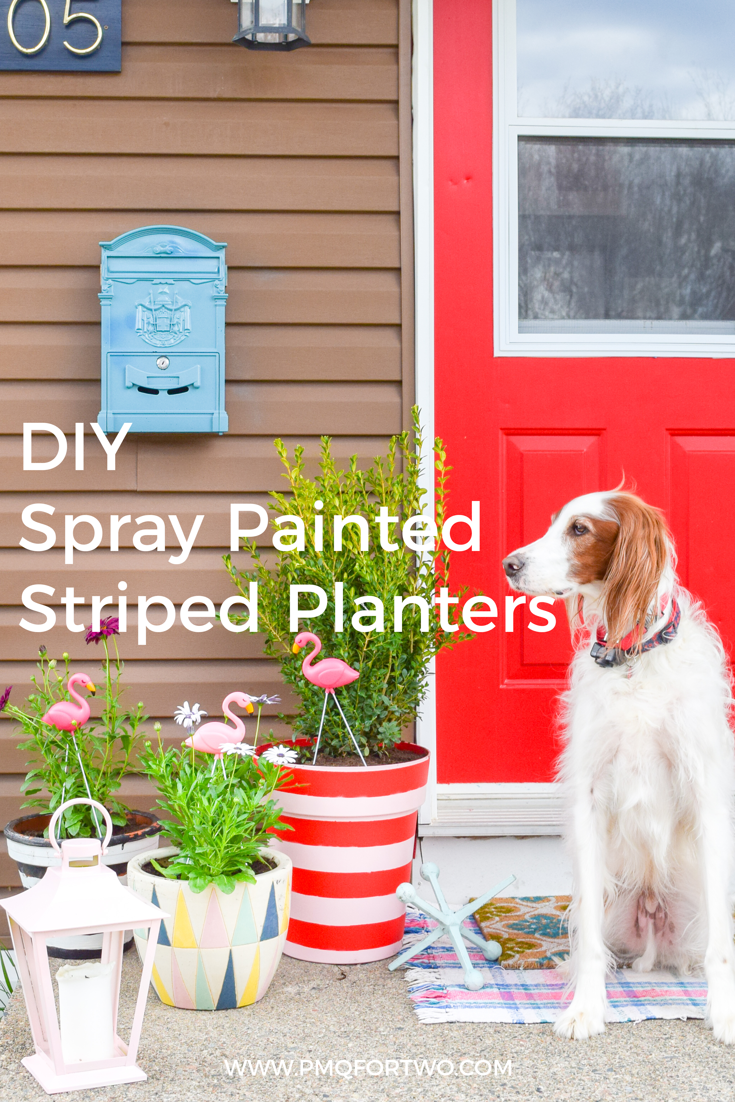 Create the colour coordinated front porch situation of your dreams with DIY spray painted striped planters using the Krylon & Tiffany Pratt colour collection.